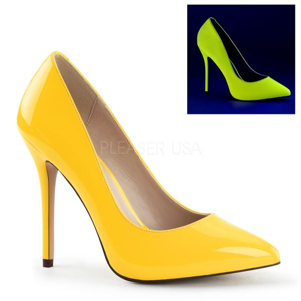 AMUSE-20 Klassische High-Heel Pumps in neon gelb Lack